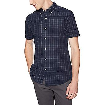 Goodthreads Men's Slim-Fit Kurzarm karierten Plaid Poplin Shirt, -navy Fensterscheibe, XXX-Large