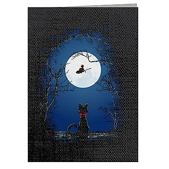 Airmail Kikis Delivery Service Moon Silhouette Greeting Card