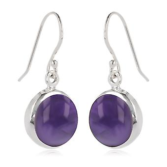 ADEN 925 Sterling Silver Amethyst Round Shape Earrings (id 3873)