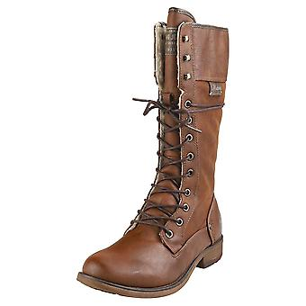 Mustang High Top Side Zip Womens Knee High Boots in Chestnut