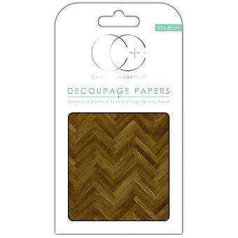 Craft Consortium Parquet Floor Decoupage Papers