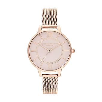 Olivia Burton Watches Ob16wd85 Wonderland Blush Dial And Pale Rose Gold Mesh Watch