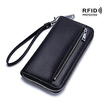 Genuine leather RFID wallet