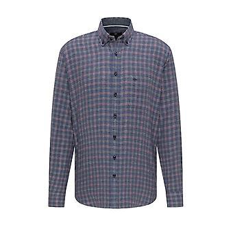 Fynch-Hatton Fynch-hatton Long Sleeved Button Down Collar Shirt Blue Check
