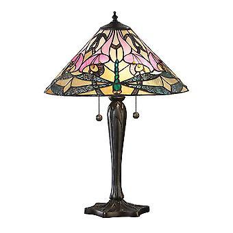 2 Lâmpada de Mesa Média Leve Tiffany Vidro, Tinta de Bronze Escuro com Destaques, E27