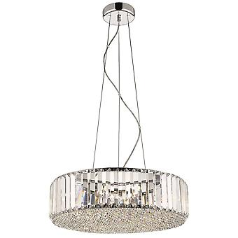 5 Light Small Ceiling Pendant Chrome, Clear with Crystals, G9