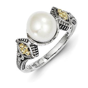 925 sterling zilver gepolijst antieke afwerking met 14 k 8-8,5 mm zoet water gekweekte Pearl Ring-Ring grootte: 6 tot en met 8