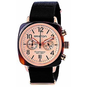 Briston Clubmaster Classic Acetate Chronograph Watch - Black/Rose Gold