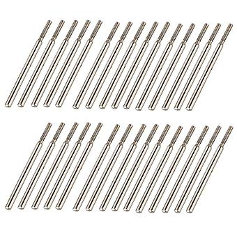 30 x Diamond Coated Rotary Point Burrs Jewelry Tool Glass Drill Bit 2mm Cylinder
