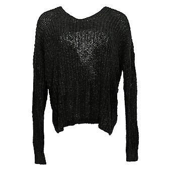 Rachel Hollis Ltd Women's Sweater Twist Back V-Neck Sweater Black A368010