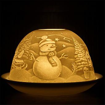 Nordic Lights Candle Shade & Plate - Christmas Snowman