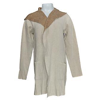 Denim & Co. Kvinder's Sweater langærmet hætteklædte Cardigan Beige A354405