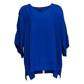 DG2 by Diane Gilman Women's Plus Top Blue Tunic Polyester V-Neck 727-411