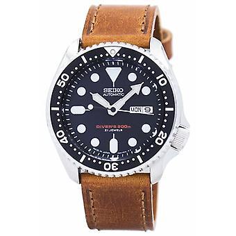 Seiko automatisk dykker's forhold brun skinn Skx007j1-ls9 200m menn's klokke
