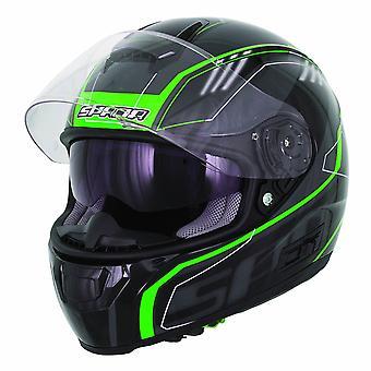 Spada SP16 Gradient Full Face Motorsykkel hjelm svart grønn
