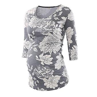 Side Ruched femeile gravide dungi florale top