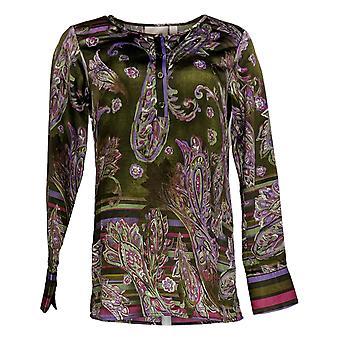 Belle af Kim Gravel Women's Top (XXS) Painted Bluse Green A367284