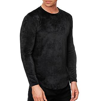 Mens Longsleeve Thin SlimFit Soft Corduroy Pullover Stretch Velvet Sweater Shirt