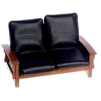 Dolls House Walnut & Black Leather Mission Sofa 1:12 Living Room Furniture