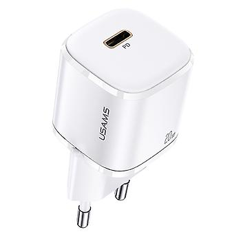 USAMS US-CC124 T36 20W USB-C Charger Quick Charger Wall Charger Plug White
