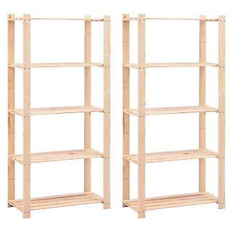 Shelves 5 floors 2 pcs. 80×38×170 cm Pine solid wood 250 kg