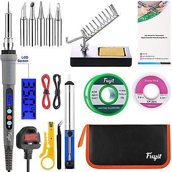 Fuyit LCD Soldering Iron Kit 15pcs Welding Tool Set with Thermostatic Digital-Controlled Pen
