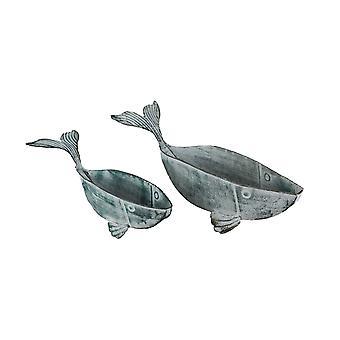 Set of 2 Weathered Verdigris Finish Metal Whale Indoor / Outdoor Planters