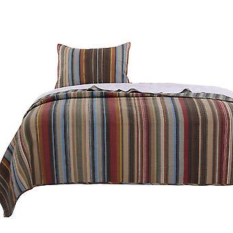 Phoenix Fabric 2 Pièce Twin Size Quilt Ensemble avec imprimés rayés, multicolore
