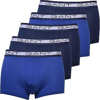GANT 5-Pack Logo Boxer Trunks, Perzisch Blauw