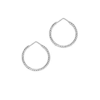 The Hoop Station Roma Diamond-Cut Silver 23 Mm Hoop Earrings H101S