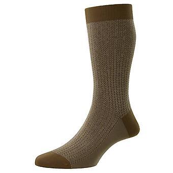 Pantherella Fabian Cotton Fil D'Ecosse Herringbone Socks - Light Khaki