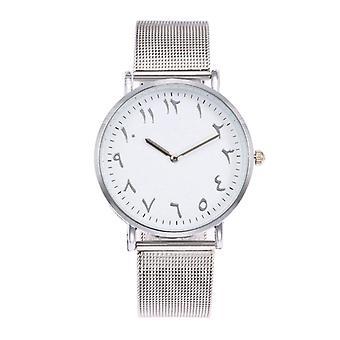 DEFFRUN Fashion Casual Arabic Numerals Dial Mesh Strap Couple Wristwatches Quar