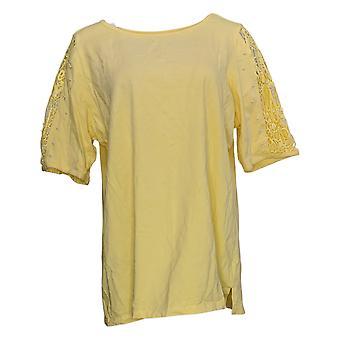 Quacker Factory Women's Top Lace Slv W/ Faux Pearl Detail Yellow A308121
