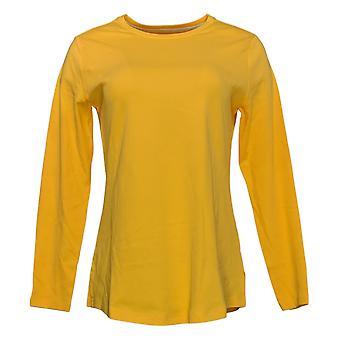 Isaac Mizrahi Live! Women's Top Essentials Crew Neck Knit Gold A372671