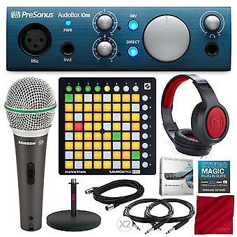 Presonus audiobox ione 2x2 usb/ipad opnamesysteem met novatie launchpad mini mk2 ableton live controller, samson microfoon, xpix