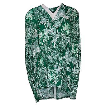 G.I.L.I. Women's Plus Top Printed Surplice Knit Green A391954