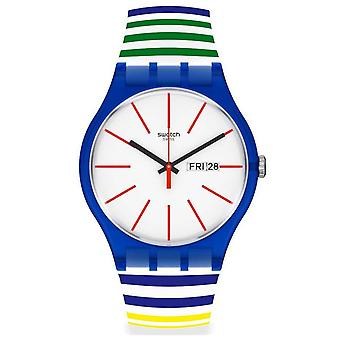 Relógio de silicone Swatch Suon715 Home Stripe Home