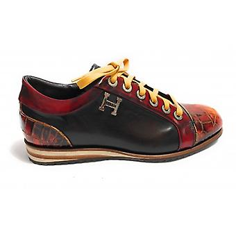 Men's Shoes Harris Sneaker Tip and Heel Leather Print Coconut Shade Red/ Black U17ha73