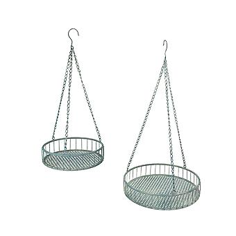 Set of 2 Weathered Gray Metal Mesh Hanging Plant Stands / Baskets
