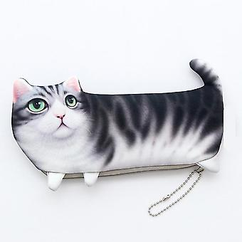 New Novelty Simulation Cartoon Cat, Pencil Soft Cloth School Pen Bag