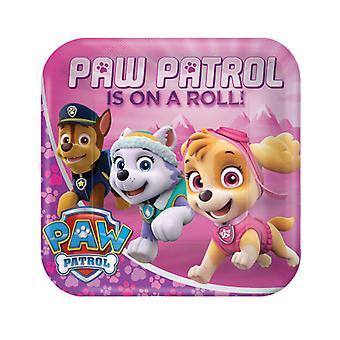 8 Assiettes en carton 23 cm rose Pat'Patrouille