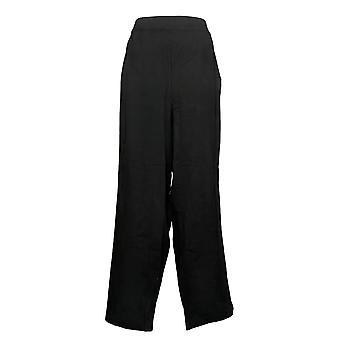 Susan Graver Women's Pants Petite Cotton Spandex Slim Leg Black A384274