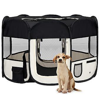 vidaXL Foldable puppy stall with carrying bag Black 110x110x58 cm