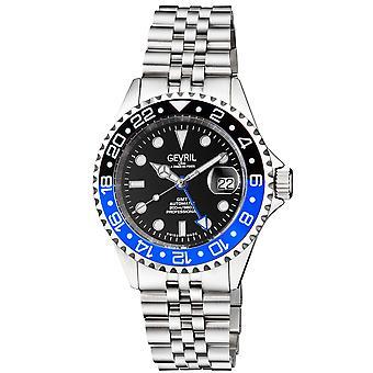Gevril Men&s Wall Street GMT BLK Dial BLK/BLU Keramisk ram Rostfritt Stål Armband