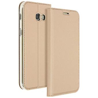 Etui Samsung Galaxy A3 2017 Housse clapet fonction stand or