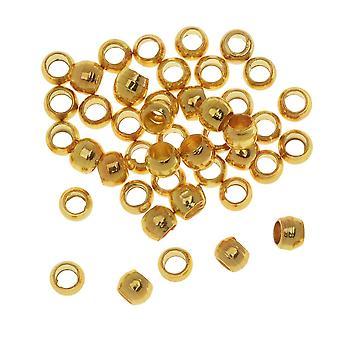 Final Sale - Crimp Beads, Barrel 2.5x1.5mm, 50 Pieces, Gold Plated