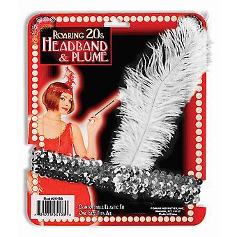 Charleston Flapper 20s zilveren pailletten veren Womens kostuum hoofdband zendspoel