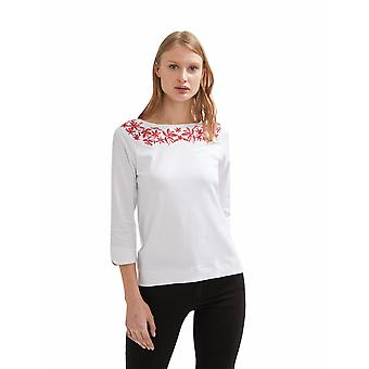 Shuuk Floral Embroidered Cotton & Elastane Top - Boat-Neck Collar Top for Women