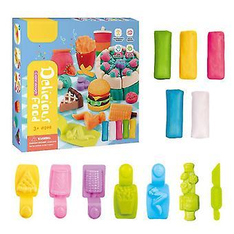 Hamburger 16.5 * 4 * 16.5cm pâte à modeler bricolage boue faite à la main jouets éducatifs pour enfants couleur boue avec une variété d'outils de forme az9328
