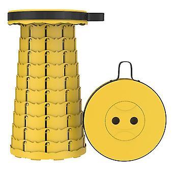 Tabouret télescopique pliant extérieur jaune, tabouret en plastique portable pour le camping et la pêche az16312